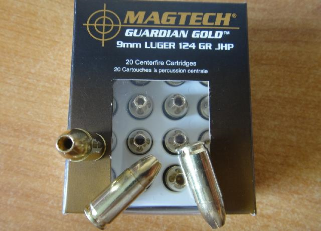 20  Patronen 9mm Luger-Magtech Guardian Gold.